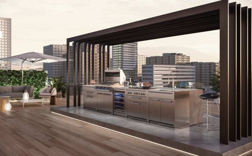 Cucine da esterno moderne: la collezione Genesi di Steel