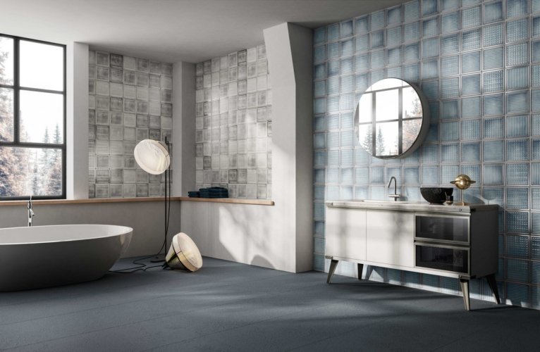 Diesel Living Iris Ceramica 2020: Cement Mexican, Glass Blocks e Shades of Blinds