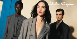 Ferragamo campagna autunno inverno 2020: Perspectives con Mariacarla Boscono, Malick Bodian e Luca Lemaire