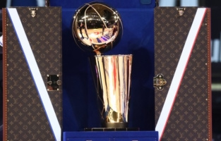 ORLANDO, FL - OCTOBER 11: A view of the Louis Vuitton trunk for the Larry O'Brien Trophy during Game Six of the NBA Finals on October 11, 2020 at AdventHealth Arena in Orlando, Florida. NOTE TO USER: User expressly acknowledges and agrees that, by downloading and/or using this Photograph, user is consenting to the terms and conditions of the Getty Images License Agreement. Mandatory Copyright Notice: Copyright 2020 NBAE (Photo by Nathaniel S. Butler/NBAE via Getty Images)