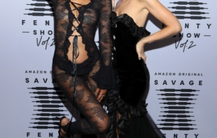 LOS ANGELES, CALIFORNIA - OCTOBER 2: (EDITORS NOTE: Image contains nudity.) (L-R) In this image released on October 2, Ciarda Hall and Nadia Lee Cohen attend Rihanna's Savage X Fenty Show Vol. 2 presented by Amazon Prime Video at the Los Angeles Convention Center in Los Angeles, California; and broadcast on October 2, 2020. (Photo by Jerritt Clark/Getty Images for Savage X Fenty Show Vol. 2 Presented by Amazon Prime Video)