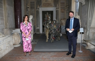 ROME, ITALY - JUNE 07: Francesca Cappelletti and Dario Franceschini attend Damien Hirst Archaeology now exhibition, sponsored by Prada at Galleria Borghese on June 07, 2021 in Rome, Italy. (Photo by Ernesto S. Ruscio/Getty Images for Prada)