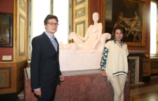 ROME, ITALY - JUNE 07: Mario Codognato and Anna Coliva attend Damien Hirst Archaeology now exhibition, sponsored by Prada at Galleria Borghese on June 07, 2021 in Rome, Italy. (Photo by Ernesto S. Ruscio/Getty Images for Prada)