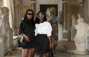 ROME, ITALY - JUNE 07:  Paola and Pamela Ameyibor attend Damien Hirst Archaeology now exhibition, sponsored by Prada at Galleria Borghese on June 07, 2021 in Rome, Italy. (Photo by Vittorio Zunino Celotto/Getty Images for Prada)