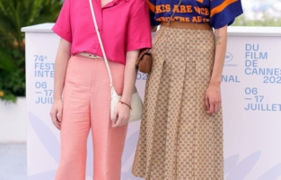 """CANNES, FRANCE - JULY 11: (L to R) Director Kira Kovalenko and Milana Aguzarova attend the """"Razzhimaya Kulaki/Unclenching The Fists/Les Poings Desserres"""" photocall during the 74th annual Cannes Film Festival on July 11, 2021 in Cannes, France. (Photo by Andreas Rentz/Getty Images)"""