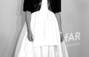 CAP D'ANTIBES, FRANCE - JULY 16: (EDITORS NOTE: Image has been converted to black and white.) Lyna Khoudri attends the amfAR Cannes Gala 2021 at Villa Eilenroc on July 16, 2021 in Cap d'Antibes, France. (Photo by Andreas Rentz/amfAR/Getty Images for amfAR)
