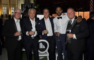 CAP D'ANTIBES, FRANCE - JULY 16: (L to R)  Kevin McClatchy, Vincent Roberti, amfAR Co-Chair T. Ryan Greenawalt, Jay Ellis and CEO of amfAR Kevin Robert Frost attend the amfAR Cannes Gala 2021 at Villa Eilenroc on July 16, 2021 in Cap d'Antibes, France.  (Photo by David M. Benett/Dave Benett/Getty Images for amfAR)