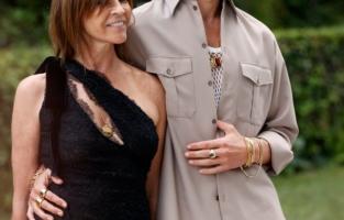 CAP D'ANTIBES, FRANCE - JULY 16: (L-R) Carine Roitfeld  and Jordan Barrett attend the amfAR Cannes Gala 2021 at Villa Eilenroc on July 16, 2021 in Cap d'Antibes, France. (Photo by Kevin Tachman/amfAR/Getty Images for amfAR)