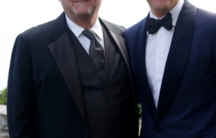 CAP D'ANTIBES, FRANCE - JULY 16: (L-R) T. Ryan Greenawalt and Kevin Robert Frost attend the amfAR Cannes Gala 2021 at Villa Eilenroc on July 16, 2021 in Cap d'Antibes, France. (Photo by Kevin Tachman/amfAR/Getty Images for amfAR)