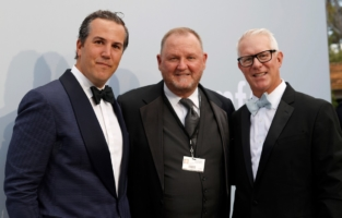 CAP D'ANTIBES, FRANCE - JULY 16: (L-R) T. Ryan Greenawalt, Kevin Robert Frost and Kevin McClatchy attend the amfAR Cannes Gala 2021 at Villa Eilenroc on July 16, 2021 in Cap d'Antibes, France. (Photo by Kevin Tachman/amfAR/Getty Images for amfAR)