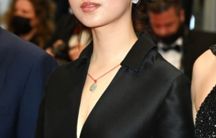 """CANNES, FRANCE - JULY 14: <> attends the """"Les Olympiades (Paris 13th District)"""" screening during the 74th annual Cannes Film Festival on July 14, 2021 in Cannes, France. (Photo by Daniele Venturelli/WireImage)"""
