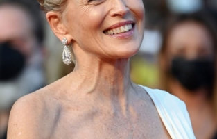 """CANNES, FRANCE - JULY 17: Sharon Stone attends the final screening of """"OSS 117: From Africa With Love"""" and closing ceremony during the 74th annual Cannes Film Festival on July 17, 2021 in Cannes, France. (Photo by Daniele Venturelli/WireImage)"""