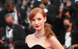 """CANNES, FRANCE - JULY 06: Jessica Chastain attends the """"Annette"""" screening and opening ceremony during the 74th annual Cannes Film Festival on July 06, 2021 in Cannes, France. (Photo by Kate Green/Getty Images)"""