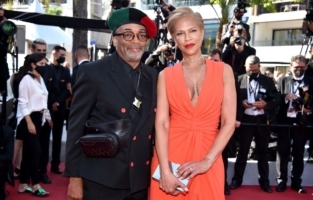 """CANNES, FRANCE - JULY 09: Director Spike Lee and Tonya Lewis Lee attend the """"Benedetta"""" screening during the 74th annual Cannes Film Festival on July 09, 2021 in Cannes, France. (Photo by Lionel Hahn/Getty Images)"""