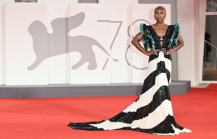 """VENICE, ITALY - SEPTEMBER 10: Cynthia Erivo attends the red carpet of the movie """"The Last Duel"""" during the 78th Venice International Film Festival on September 10, 2021 in Venice, Italy. (Photo by Daniele Venturelli/WireImage)"""