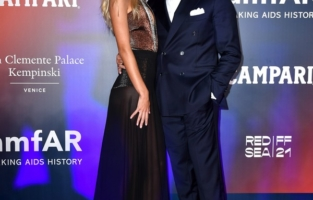 VENICE, ITALY - SEPTEMBER 10: Frida Aasen and Tommaso Chiabra attend the amfAR Venice gala 2021 on September 10, 2021 in Venice, Italy. (Photo by Pietro D'Aprano/amfAR/Getty Images for amfAR)