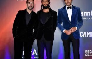 VENICE, ITALY - SEPTEMBER 10: Mohammed Al Turki, Rakan Abdulwahid and Andrés Velencoso attend the amfAR Venice gala 2021 on September 10, 2021 in Venice, Italy. (Photo by Pietro D'Aprano/amfAR/Getty Images for amfAR)
